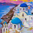 Original pastel paintings on cardboard. Beautiful view of Santor — Stock Photo