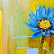 Stock Photo: Original oil paintings on canvas. Lily in blue.