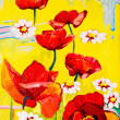 Original oil paintings on canvas. Beautiful poppies in a field. — Stock Photo