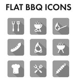 Flat icon set: barbecue icons — Cтоковый вектор