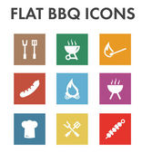 Flat icon set: barbecue icons — Stock Vector