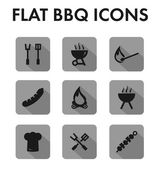 Flat icon set: barbecue icons — Stock vektor