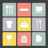 Flat icon set: Kitchen set — Stok Vektör