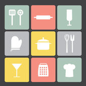 Flat icon set: Kitchen set — Stock vektor