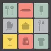 Flat icon set: Kitchen set — Vector de stock