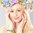 Stock Photo: Young woman with flower wreath