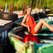 Girl in boat — Stock Photo