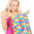 Woman with gift bag — Stock Photo