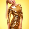 Gold dress — Stock Photo