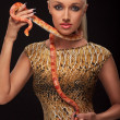 Girl with snake — Stock Photo