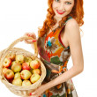 Foto Stock: Girl with apples