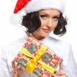 Christmas woman with gift — Stock Photo