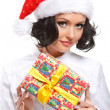 Christmas woman with gift — ストック写真