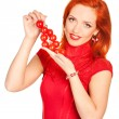 Woman with cherry tomatoes — Stock Photo
