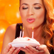 Girl with cake — Stock Photo #34695157