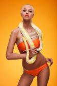 Girl with albino python — Stock Photo