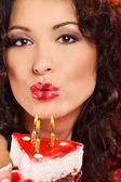 Woman with cake — Stock Photo