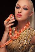 Girl with snake — Foto de Stock