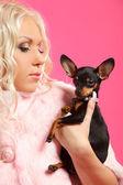 Rubia con perro — Foto de Stock