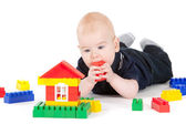Baby and constructor — Stock Photo