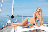 Young woman on the yacht — Stock Photo
