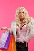 Blonde with shopping bags — Foto de Stock