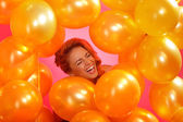 Woman in a balloons — Stock Photo