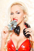 Sexy blonde with CD — Stock Photo