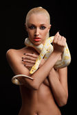 Girl with python — Stock Photo