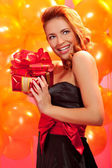 Woman with gift — Foto Stock