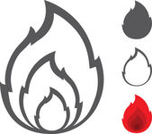 Vector Flame Shape Icon Set — Stock Vector