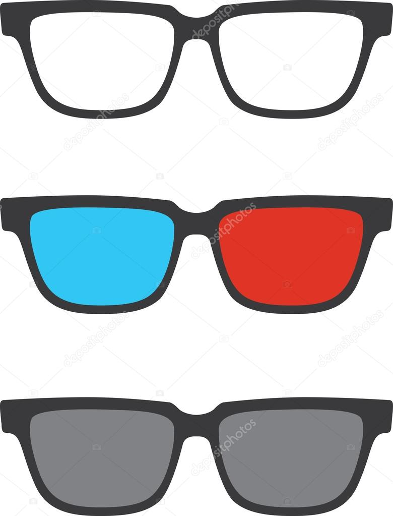Vector 3D glasses set — Stock Vector © mikefirsov #35236495