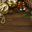 Christmas decoration over old wood background — Stock Photo #34653451