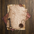 Stock Photo: Old paper with wax seal