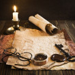 Compass, rope and glasses on old paper — Stock Photo #34654133