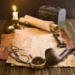 Compass, rope and glasses on old paper — Stock Photo
