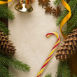 Christmas decoration over old wood background — Stock Photo