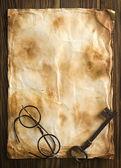 Başarı, büyüteç camı, iş geçmişi word'de — Stok fotoğraf