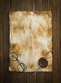 Old glasses on the vintage document — Stockfoto