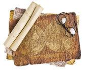 Stare okulary na wzór dokumentu — Zdjęcie stockowe