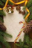 Decoração de Natal mais antigo fundo de madeira — Fotografia Stock