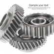 Real stainless steel gears isolated over white background — Stock Photo #34762263