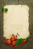 Old paper sheet and vegetables for a menu or recipe — Stok fotoğraf