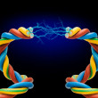 Electric cord with electricity sparkls as symbol of power — Stock Photo