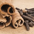 Cinnamon spice Sticks on wooden board close up — Stock Photo