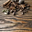 Cinnamon spice Sticks on wooden board — Stock Photo