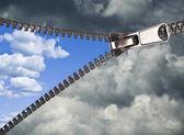 Zipper opening blue sky — Stock Photo