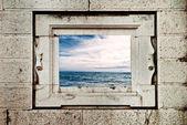 Seascape through window — Stock Photo
