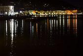 Night view of the Italian city Salo — Stock Photo