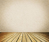 Empty room with white wall and wooden floor interior background — Stock Photo